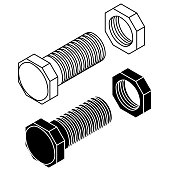 Bolt with nut. Outline drawing. Vector illustration isolated on white background