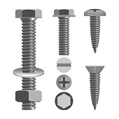 Bolts and nuts with different screw heads types realistic vector illustration isolated on white. Fastener with threaded hole and used in conjunction with bolt