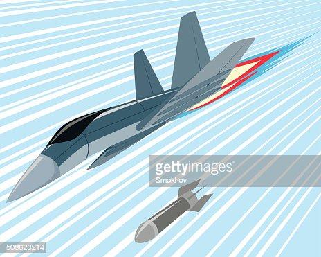 Bomber lobbing rockets : Vector Art