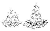 Bonfire graphic black white isolated sketch illustration vector