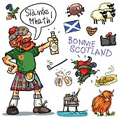 Bonnie Scotland cartoon collection, funny Scottish man with whiskey