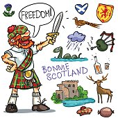 Bonnie Scotland cartoon collection, funny Scottish man with sword