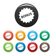 Bonus sign icons set. Vector simple set of bonus sign vector icons in different colors isolated on white