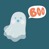 Cute and friendly little ghost flying at night scaring with Boo speech bubble.
