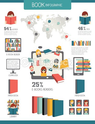 Book And Reading Infographics Flat Vector Design Vector Art ...