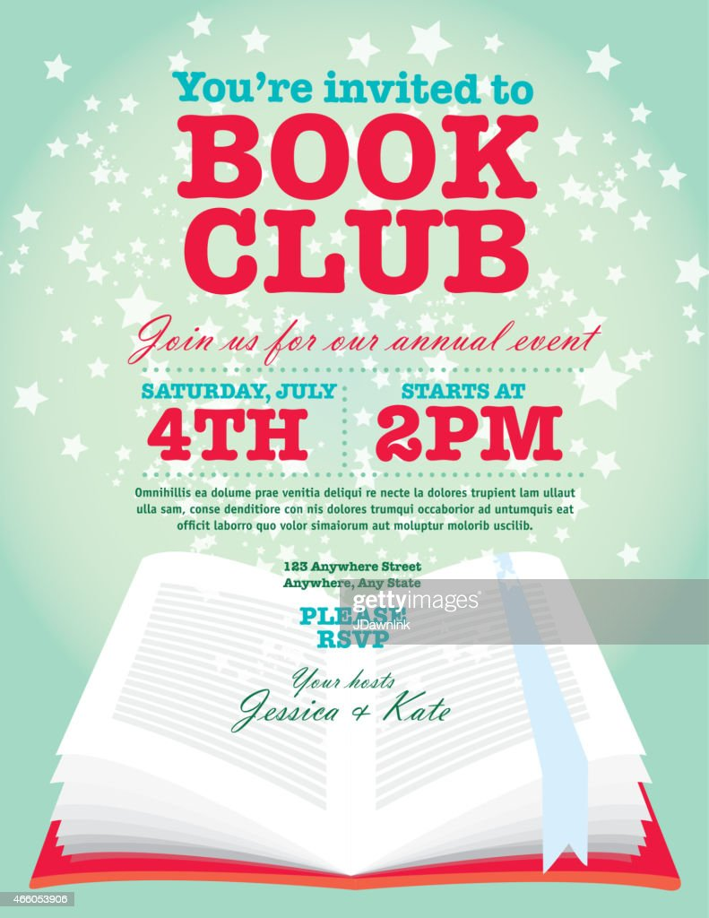 Book Club Event Invitation Design Template Pink Turquoise And Red
