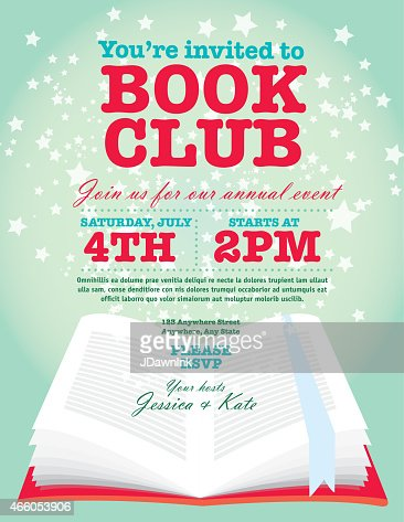 Book Club Event Invitation Design Template Orange And Green Vector