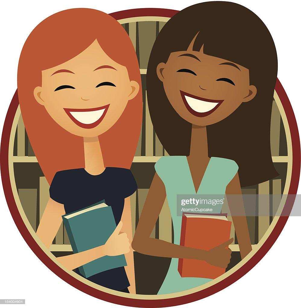 Book Club: Two smiling girls, Retro Cartoon Style : Vector Art