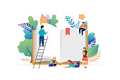 Book festival concept illustration - a group of tiny people reading a huge open book. Vector illustration, poster and banner