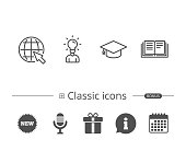 Book, Graduation cap and Internet tutorial line icons. Student with Idea, Globe and Education signs. Information speech bubble sign. And more signs. Editable stroke. Vector