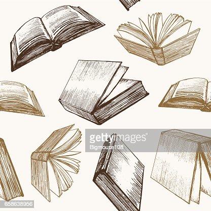 Book Hand Draw Sketch Background Pattern Vector Vector Art Thinkstock