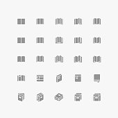 Set of flat book silhouette vector icons.