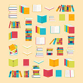 Book icons set in flat style for your design. School books background. Library, bookstore. Education concept. Vector illustration
