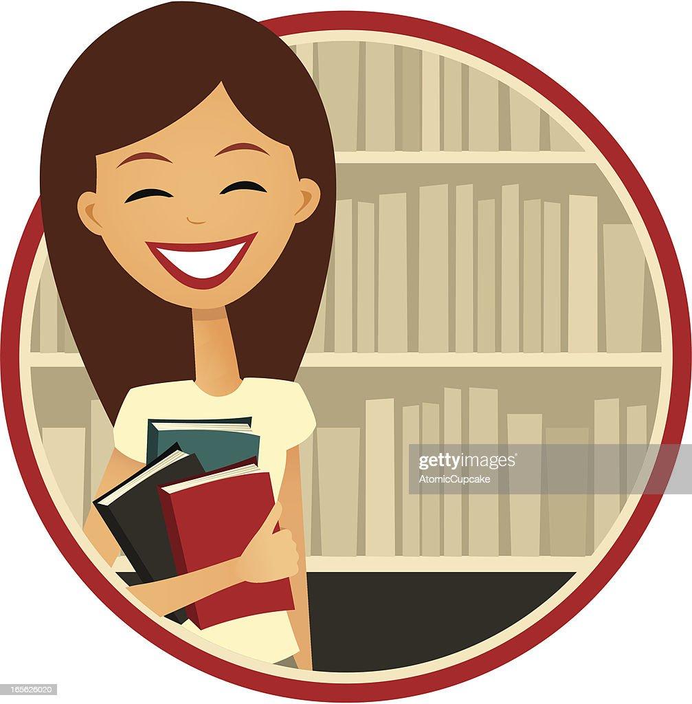 Book Lover: Smiling Woman by a Bookshelf, Retro Cartoon Style : Vector Art