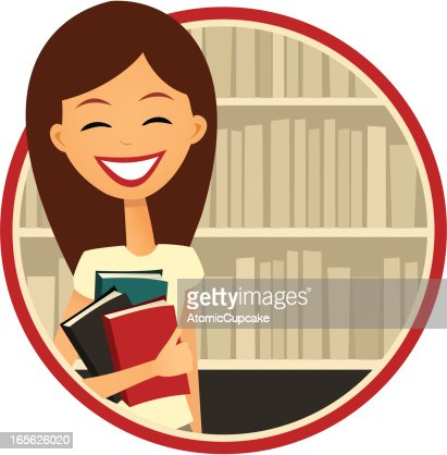 Book Lover: Smiling Woman by a Bookshelf, Retro Cartoon Style : Vector Art