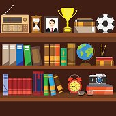 Book shelf. Bookstore indoor. Bookshelves with different books set. Home library interior. Reading and learning, knowledge and education.isolated on background. Vector illustration.
