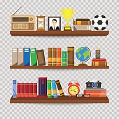 Book shelf. Bookstore indoor. Bookshelves with different books set. Home library interior. Reading and learning, knowledge and education.isolated on transparent background. Vector illustration.