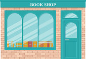 Book shop, storefront. Vector. Vintage store front. Facade retail building with window. Exterior house, retro street architecture. Cartoon illustration isolated in flat design.