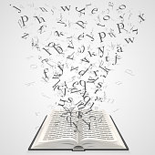 Book with flying letters art. Vector Illustration
