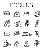 Booking related vector icon set. Well-crafted sign in thin line style with editable stroke. Vector symbols isolated on a white background. Simple pictograms.