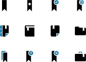Bookmark, tag, favorite duotone icons on white background. Vector illustration.