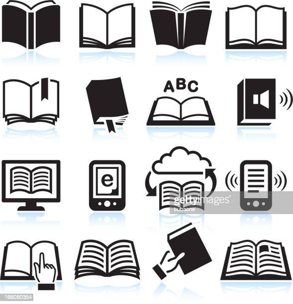 Books black & white royalty free vector icon set