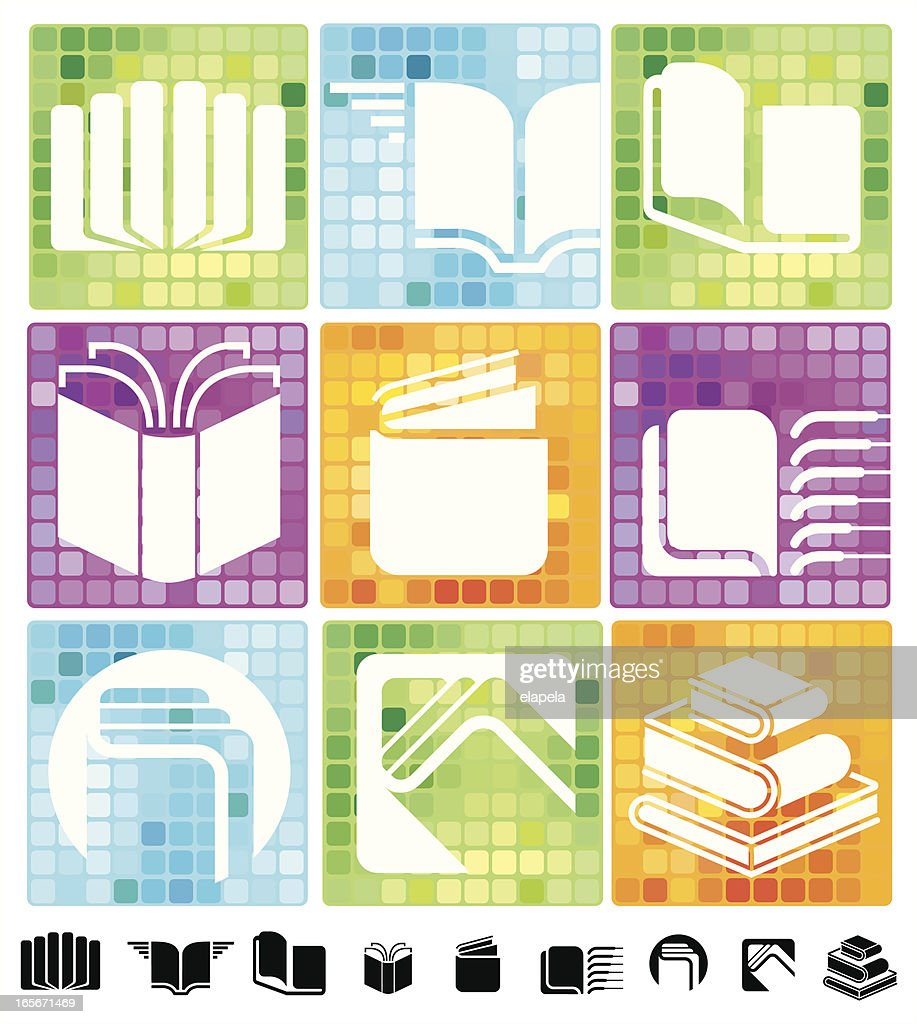 Books icons with mosaic background : Vector Art