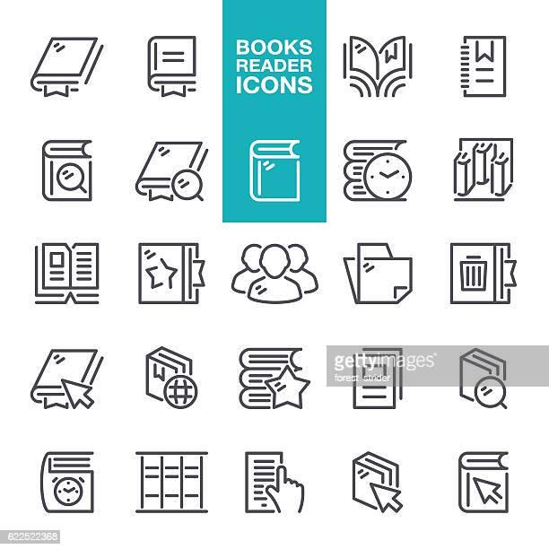 Books Reader Line Icons