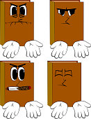 Books showing something with both hands or expressing don't know gesture. Cartoon book collection with angry faces. Expressions vector set.