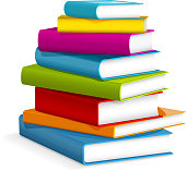 Illustration of colorful books stacked. NO gradient mesh. Major elements are grouped and layered separately.