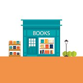 Books store building with books icons set, vector illustration
