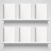 Two white bookshelves and books with empty blank covers. White object mock-up or template