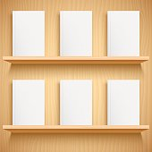 Two wooden bookshelves and books with empty blank covers. White object mock-up or template