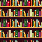 Book spine. Seamless vector pattern with bookshelf. Flat style.