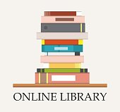 Bookshelf with books at white background. Online Library education concept