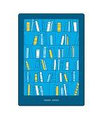 Bookshelves with books on smartphone screen. Digital library. Vector illustration. eps 8.