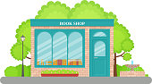 Bookstore front. Vector. Bookshop facade, storefront. Cartoon store front. Retail book shop building with window in flat design. Exterior library house. Street architecture. Illustration.