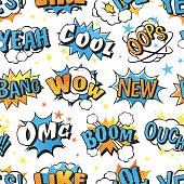 Comic speech bubbles in pop art style with bomb cartoon and explosion text seamless pattern vector illustration. Boom cloud halftone humor background communication design.