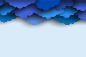Border of blue paper cut clouds for design with clipping mask. Paper cut, paper craft art style,vector illustration
