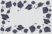 Graduate cap border vector.