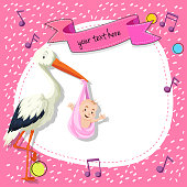 Border templat with bird and baby on pink background illustration