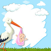 Border template with bird and baby in park illustration