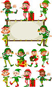 Border template with christmas elves illustration