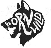 Wolf silhouette with concept text inside Born Wild on white background. Vector illustration