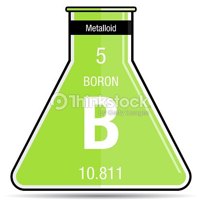 Boron Symbol On Chemical Flask Element Number 5 Of The Periodic