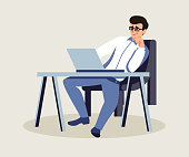 Boss in private office flat vector illustration. Relaxed confident employer at workplace. Middle aged man in glasses working on laptop. Programmer, project manager.Cartoon character sitting at desk