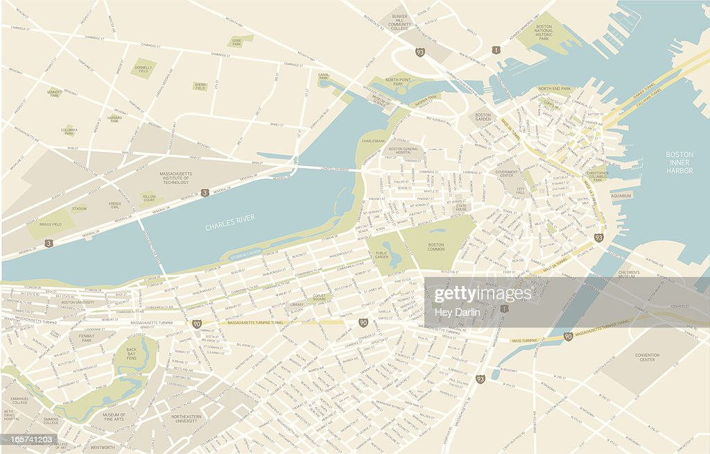 Boston Downtown Map Vector Art Thinkstock