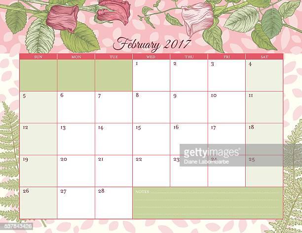 2017 Botanical Floral Desk Pad Calendar Template
