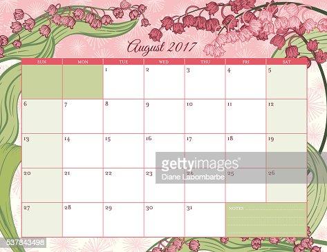 2017 Botanical Floral Desk Pad Calendar Template Vector Art | Getty ...