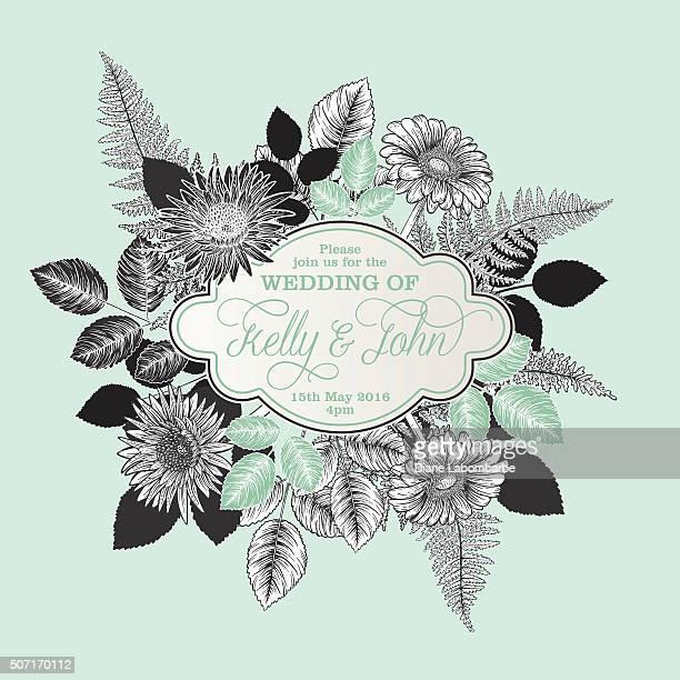 Botanical Flowers Wedding Invitation Template